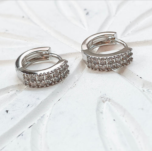 Double row diamondette huggie earrings