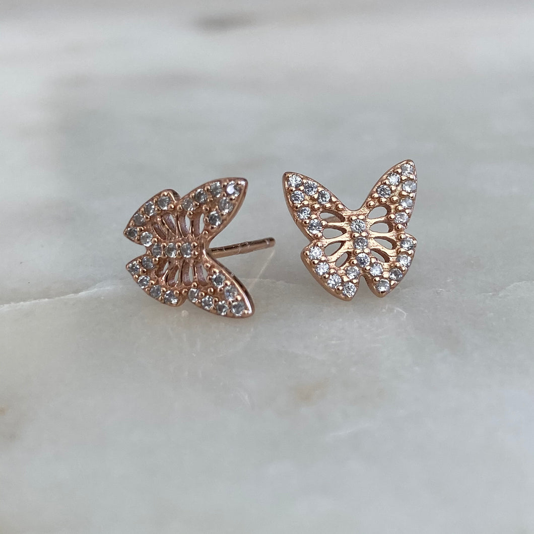 Butterfly sterling silver diamondette stud earrings
