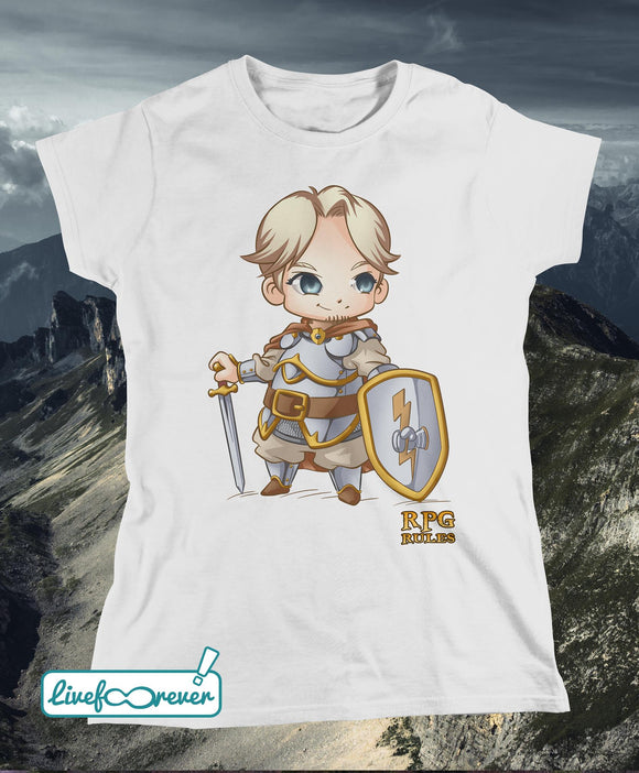 T-shirt donna RPG rules - Paladino (bianco)