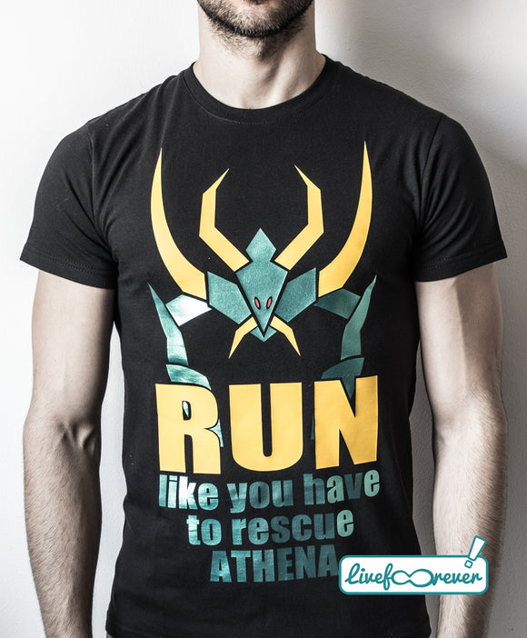 T-shirt uomo – Run like you have to rescue Athena – metal dragon variant