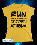 T-shirt donna – Run like you have to rescue Athena (giallo)