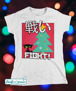 T-shirt gatto donna – Cat versus Christmas: fight!