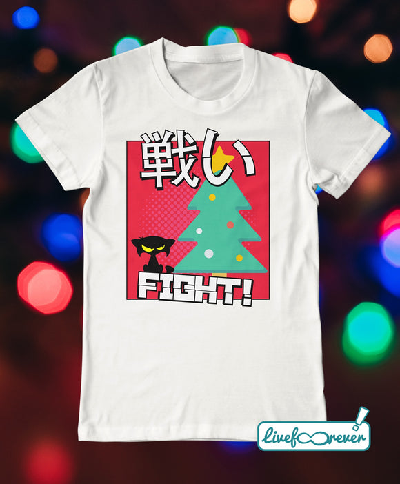 T-shirt gatto uomo – Cat versus Christmas: fight!