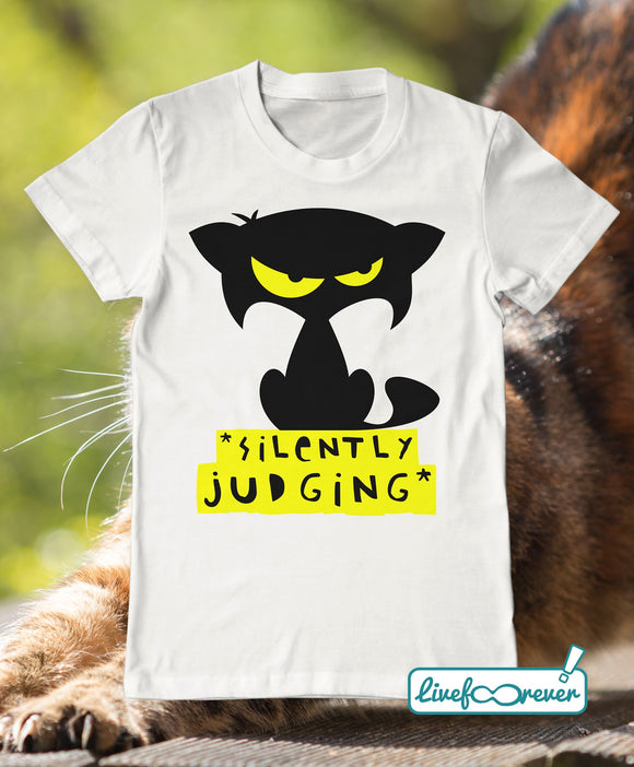 T-shirt gatto uomo – Mozart – silently judging