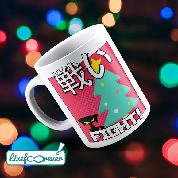 Tazza 325 ml – Cat versus Christmas: fight!