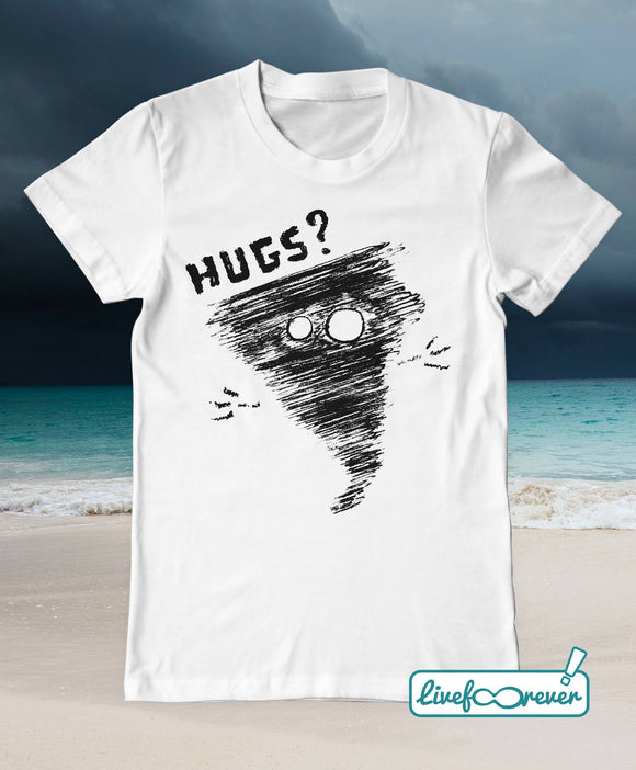 T-shirt uomo - Alfonsino the hurricane - Hugs? (bianco)