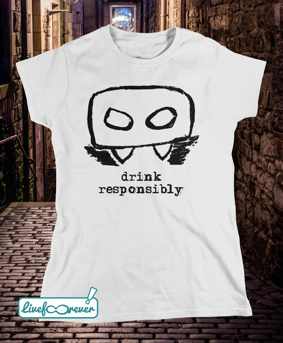 T-shirt donna – Bloody Mario – the Italian vampire – Drink responsibly (testone)