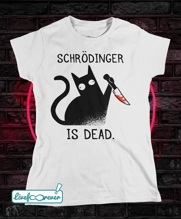 T-shirt gatto donna – Schrodinger is dead