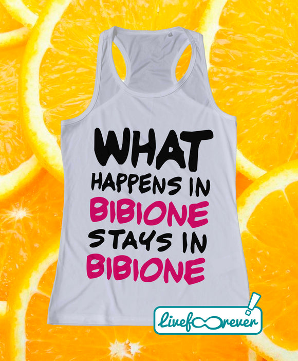 Canotta tecnica beach volley donna – What happens in Bibione stays in Bibione (fronte)