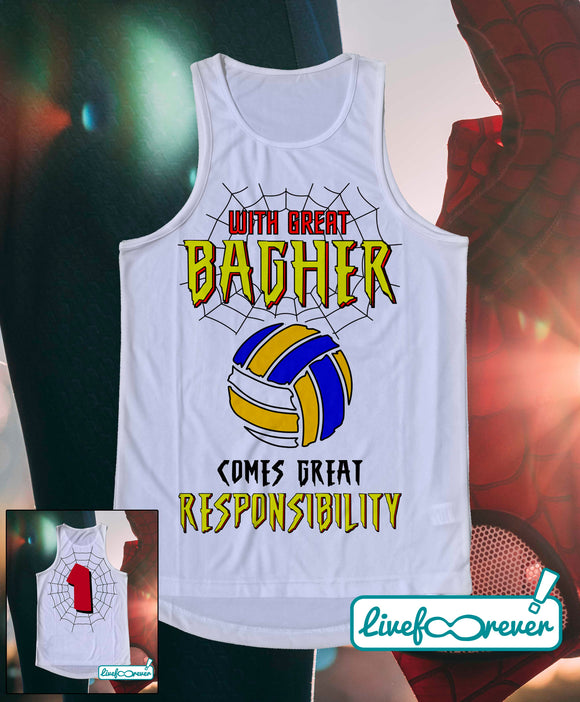 Canotta tecnica beach volley uomo – With great bagher comes great responsibility. (fronte)