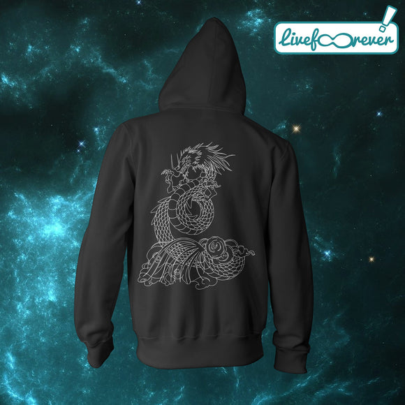 Felpa con cappuccio full zip uomo Dragon tattoo (retro)