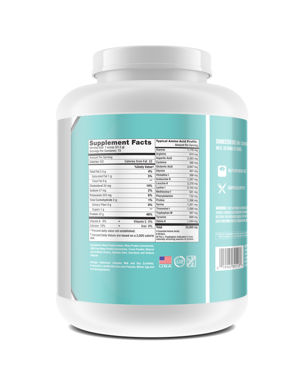 Whey Protein Powder container.