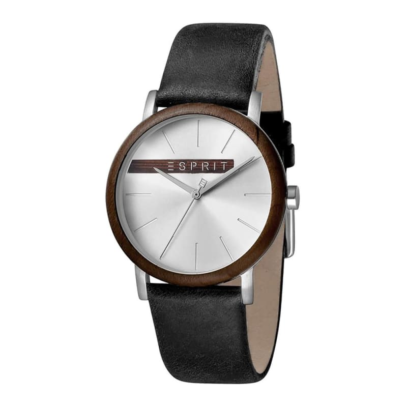 Esprit Es1G030L0035 Plywood Silver Black Mens Watch