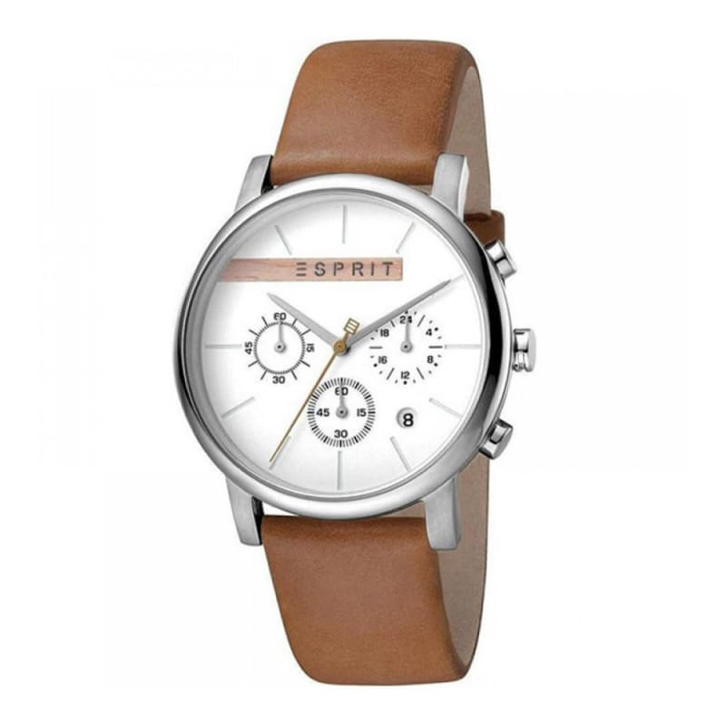 Esprit Es1G040L0015 Vision Silver Brown Mens Watch Chronograph