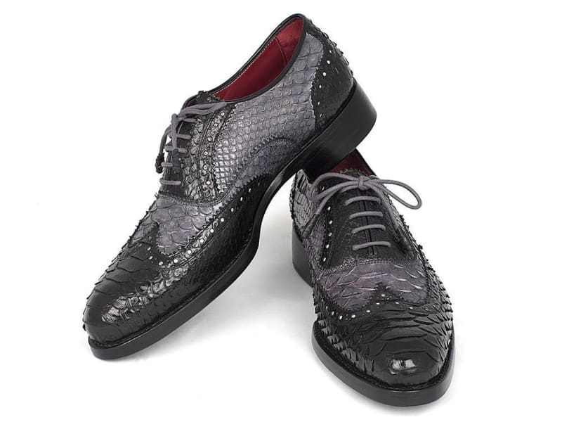 Paul Parkman Goodyear Welted Genuine Python Oxfords Black And Gray (Id#27Gypt51)