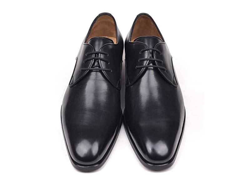 Paul Parkman Mens Black Leather Derby Shoes (Id#34Dr-Blk)