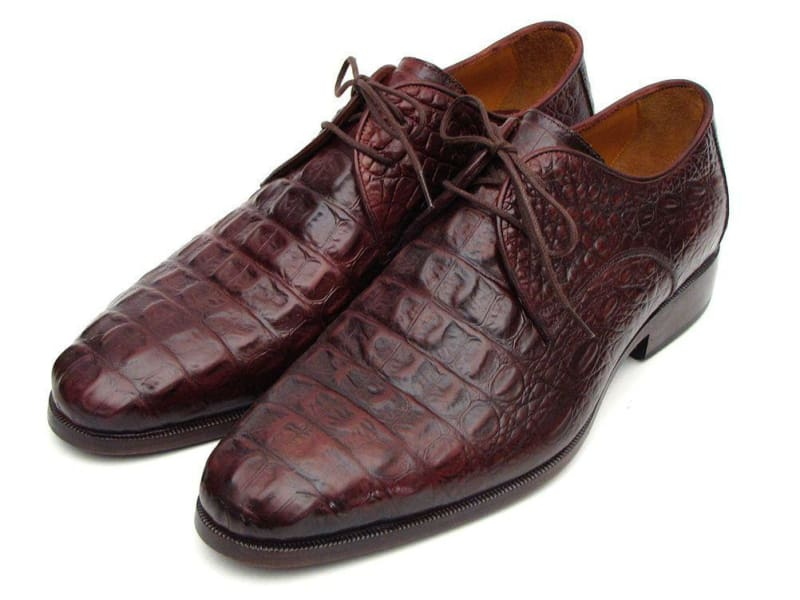 Paul Parkman Mens Brown & Bordeaux Crocodile Embossed Calfskin Derby Shoes (Id#1438Brd)