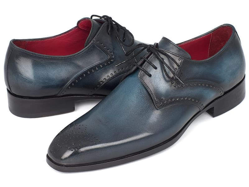 Paul Parkman Mens Navy & Blue Medallion Toe Derby Shoes (Id#6584-Navy)