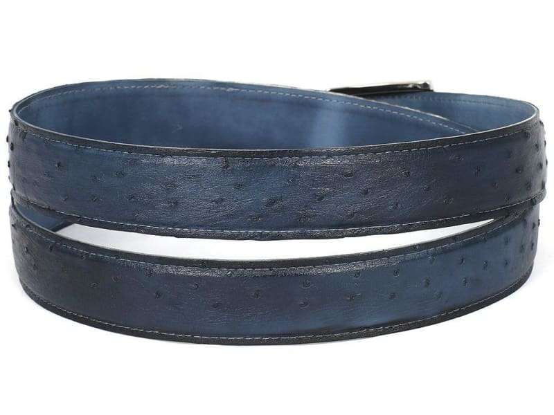 Paul Parkman Mens Navy Genuine Ostrich Belt (Id#b04-Nvy)