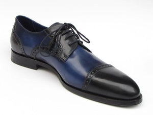 Paul Parkman Mens Parliament Blue Derby Shoes Leather Upper And Leather Sole (Id#046-Blu)