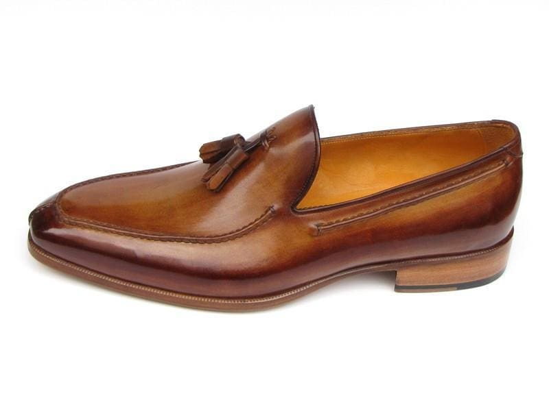 Paul Parkman Mens Tassel Loafer Camel & Brown Hand-Painted (Id#083-Cml)