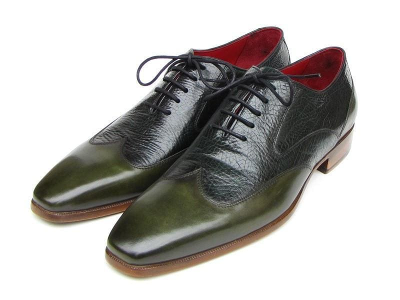 Paul Parkman Mens Wingtip Oxford Floater Leather Green (Id#023-Green)