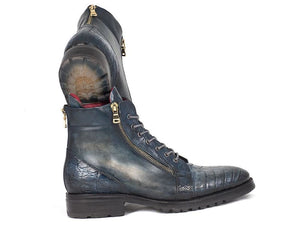 Paul Parkman Navy Genuine Crocodile & Calfskin Side Zipper Boots (Id#41Cnv62)