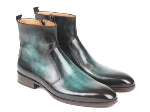 Paul Parkman Turquoise Burnished Side Zipper Boots (Id#bt487Trq)