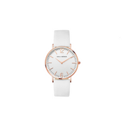 Eila Cherie womens Melinda Blanca white leather watch with rosegold casing
