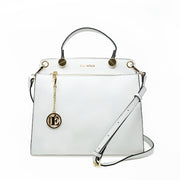 Eila Chérie Blanca White Handbag with shoulder strap and gold hardware