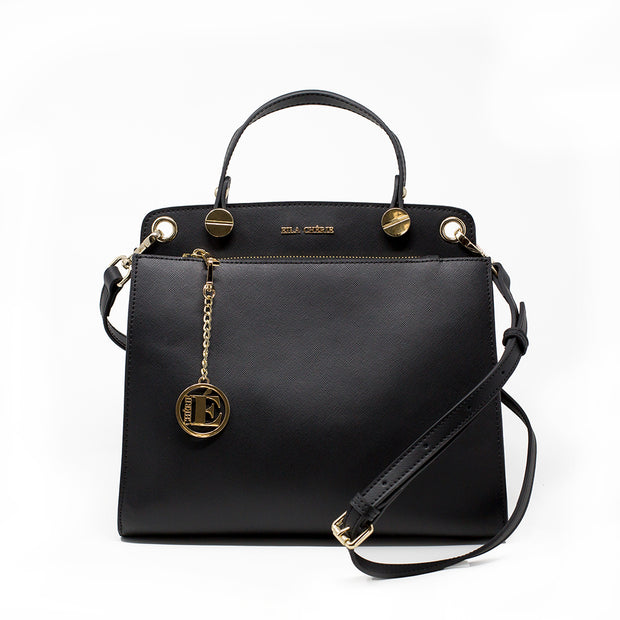 Eila Chérie Onyx Black Leather Handbag with shoulder strap and gold hardware