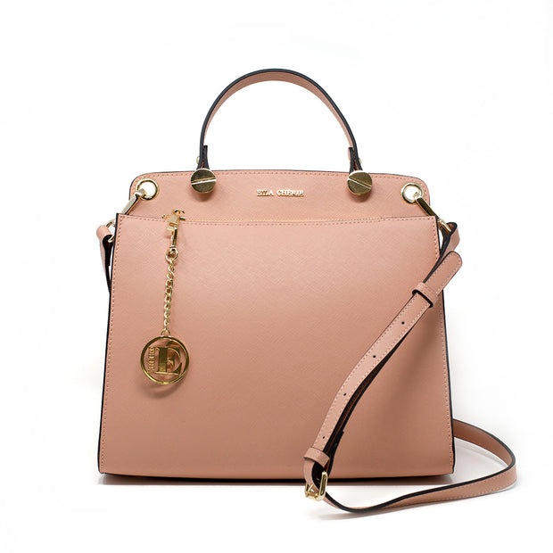 front view of the eila cherie leather fashion handbag in the color peach