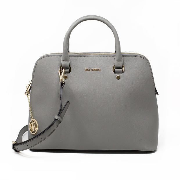 Eila Chérie Ash Grey leather Barbara Handbag with shoulder strap and gold hardware