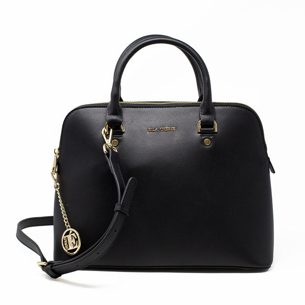 Eila Cherie Barbara Black Leather Fashion Handbag front view with long shoulder strap