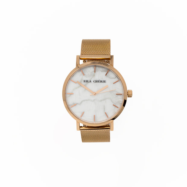 Eila Cherie womens Emilia Marble fashion watch rosegold
