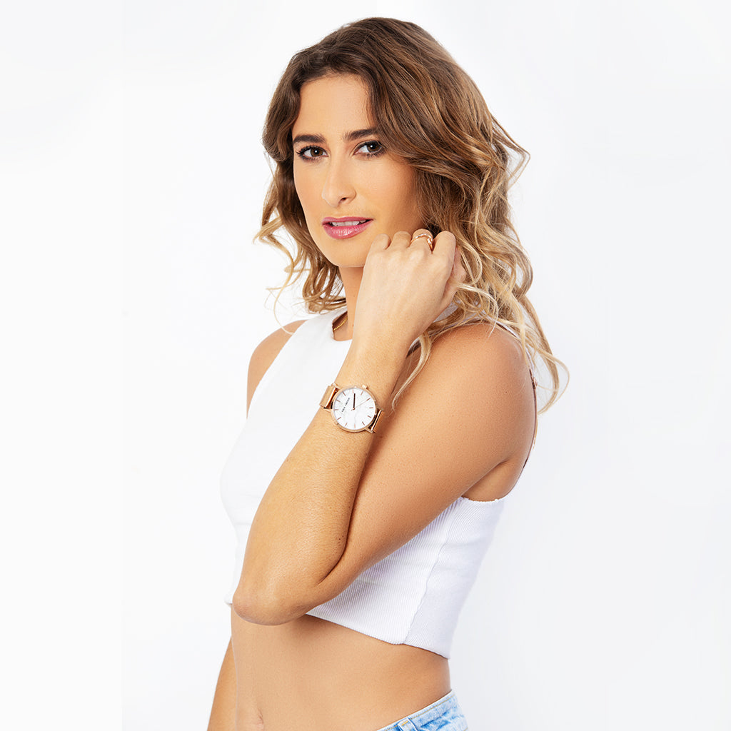 White Marble Watch with rosegold casing worn by attractive woman