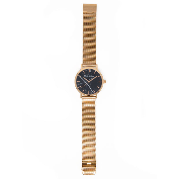 Flat lay of Eila Cherie womens Emilia black Marble fashion watch rosegold