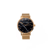 Eila Cherie womens Emilia black Marble fashion watch rosegold