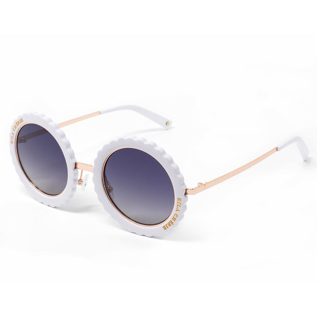 Eila Chérie White Round Sunglasses at an angle