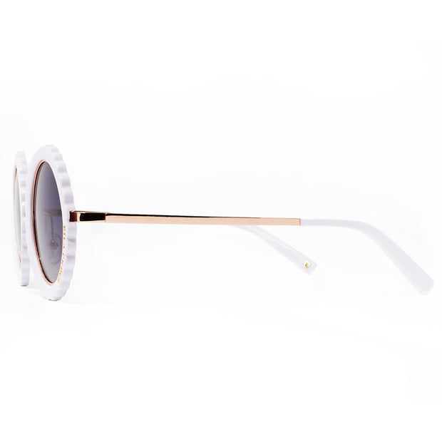 Eila Chérie White Round Sunglasses side view