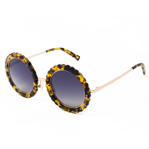 Eila Chérie Honey tortoise round acetate fashion sunglasses angled