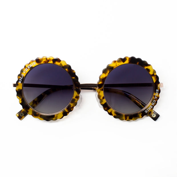 Eila Chérie round polarized fashion sunglasses in the color Honey tortoise