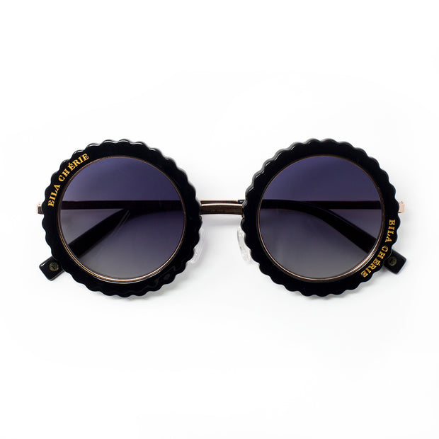 Eila Chérie Black round sunglasses with grey gradient lenses