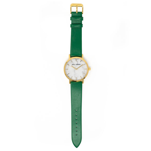 Eila Chérie Marble womens watch Olivia with kelly green colored leather strap flatlay