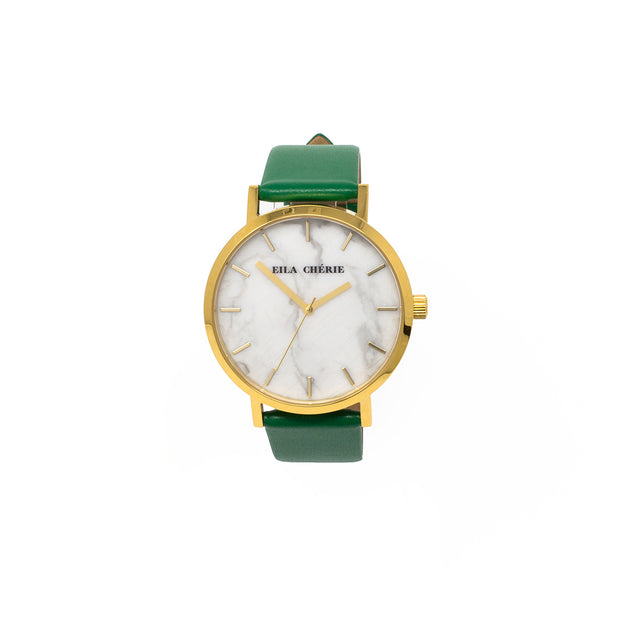 Eila Chérie Marble womens watch Olivia with kelly green colored leather strap