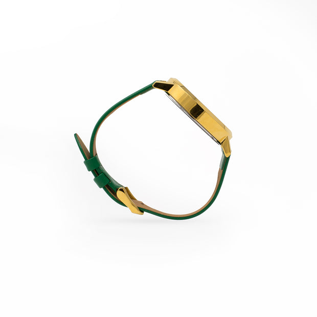 Side view Eila Chérie Marble womens watch Olivia with kelly green colored leather strap