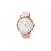 Eila Chérie Marble womens watch Olivia with petal pink colored leather strap