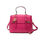 Eila Cherie Hot pink leather handbag with long purse strap and gold hardware