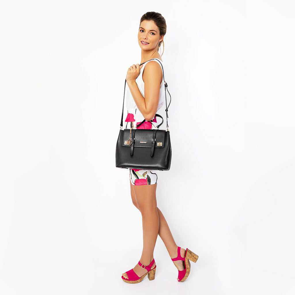 eila cherie black leather handbag
