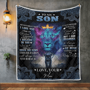 ''To My Son Lion'' Fleece Blanket/Mother's Day Gift